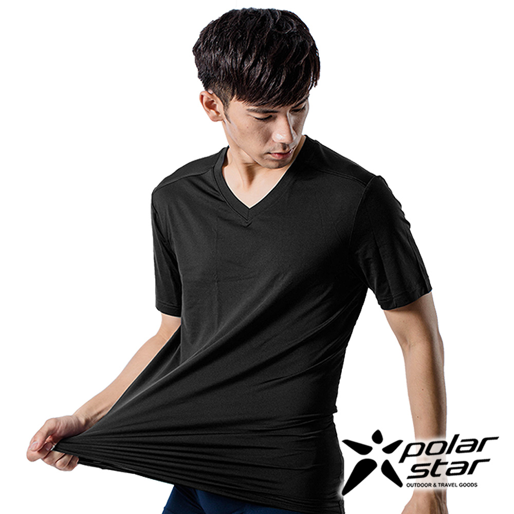 PolarStar 男 COOLMAX 排汗內衣 短袖T恤『黑』P9103