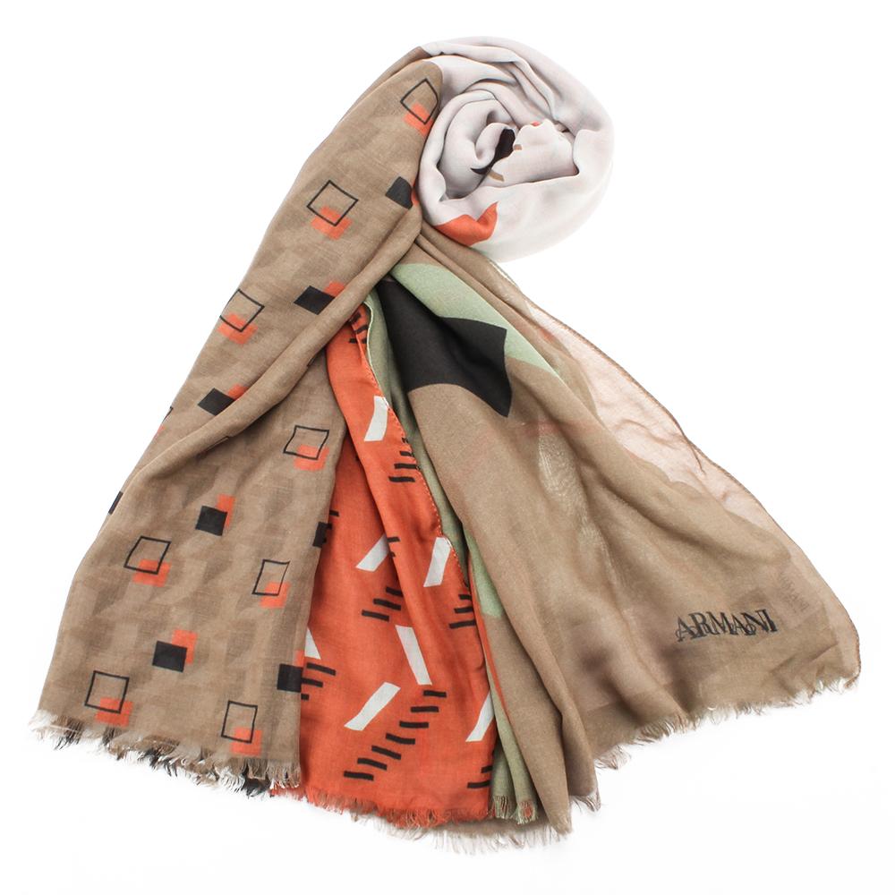 ARMANI COLLEZIONI 幾何圖紋拼接風格披肩圍巾-卡其/橘