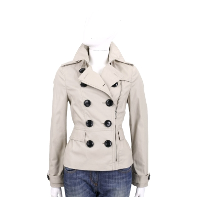 BURBERRY Brit 短版雙排扣棉質風衣(石灰色)