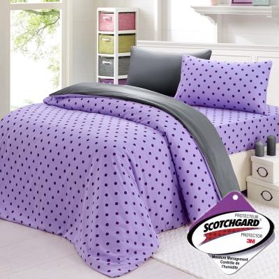 精靈工廠 3M吸濕排汗專利心漾點點單人二件式床包組-紫點+鐵灰