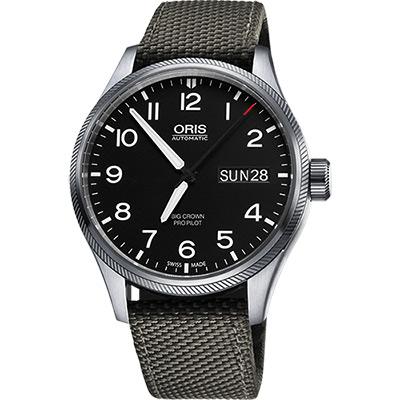 Oris Big Crown ProPilot 日曆星期機械腕錶-黑x灰錶帶/45mm