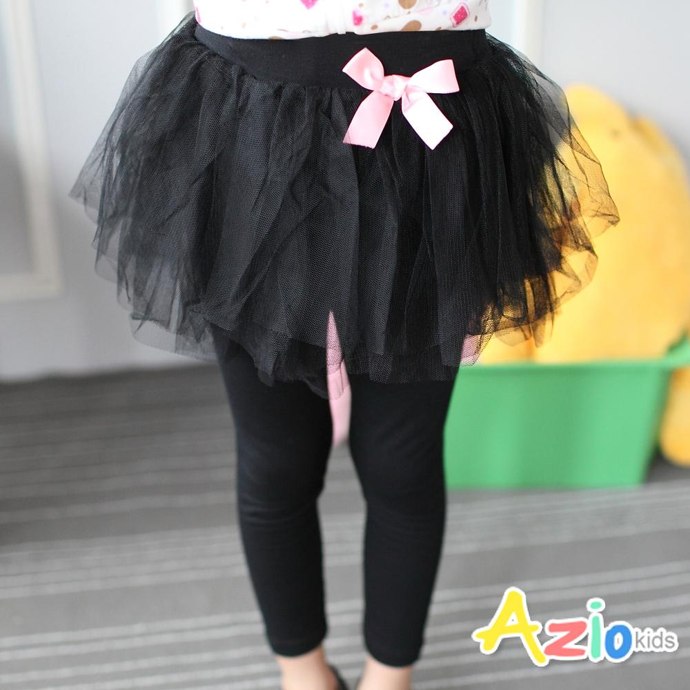 Azio Kids-褲裙蓬蓬網紗裙蝴蝶結內搭褲裙黑