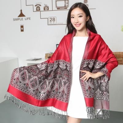 Seoul-Show波西風情-純棉編織圍巾-純紅