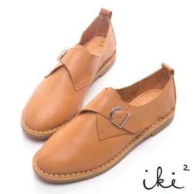 iki2新膚觸-真皮優雅單扣牛津平底鞋-牛奶糖棕