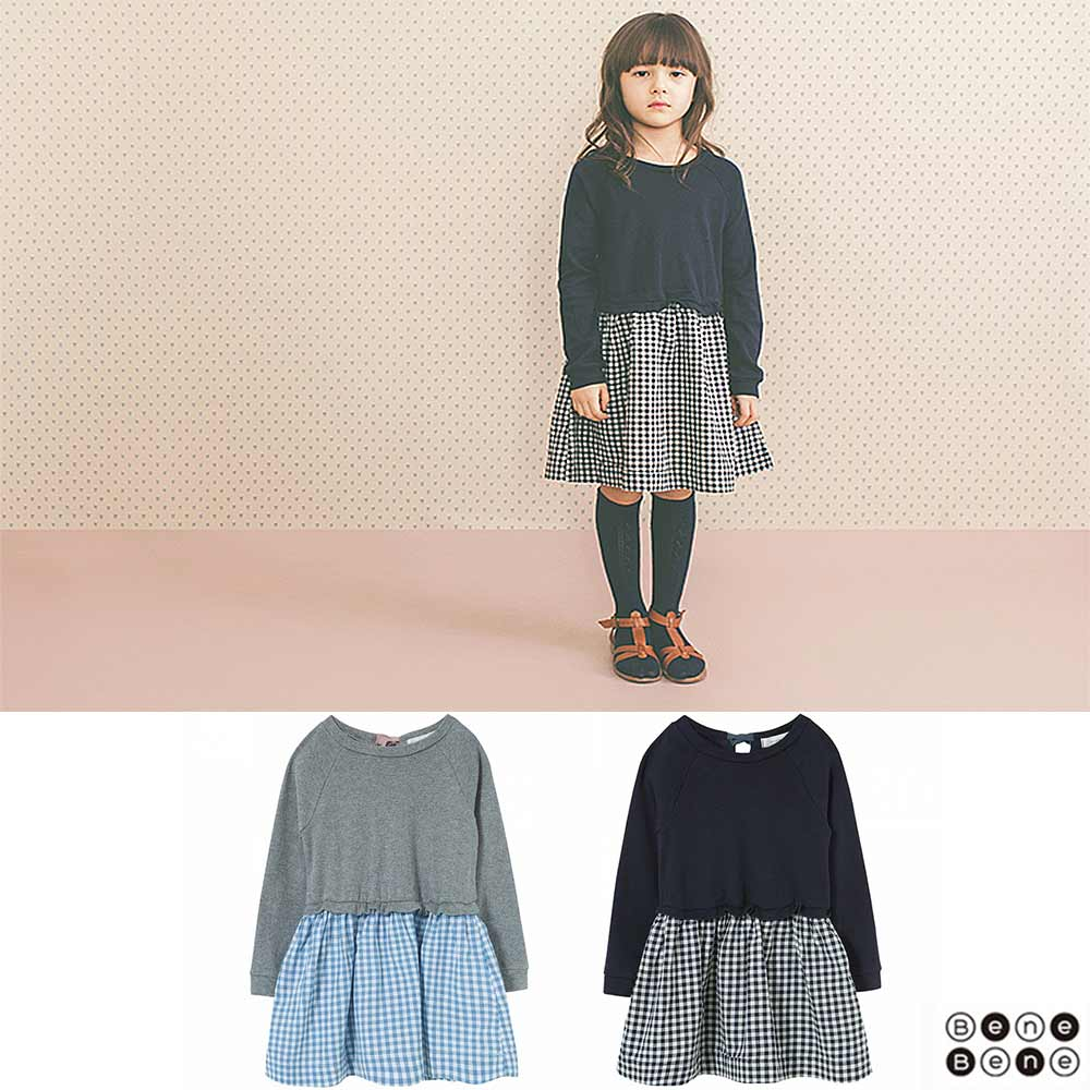 韓國 Bene Bene 拼接格紋綁帶長袖洋裝