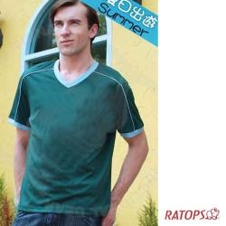 【瑞多仕】男款 COOLMAX V領排汗衫_DB8287 暗綠/灰綠 V1
