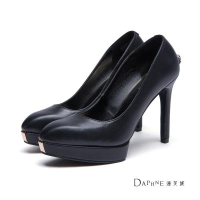 達芙妮DAPHNE-高跟鞋-前高後高寶石後跟尖頭鞋-黑