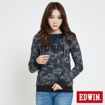 EDWIN 迷彩修紋連帽拉T外套-女-黑色