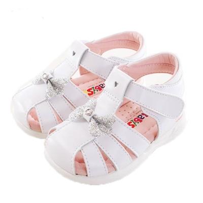 蝴蝶結魔鬼貼真皮涼鞋 白 sk0153 魔法Baby