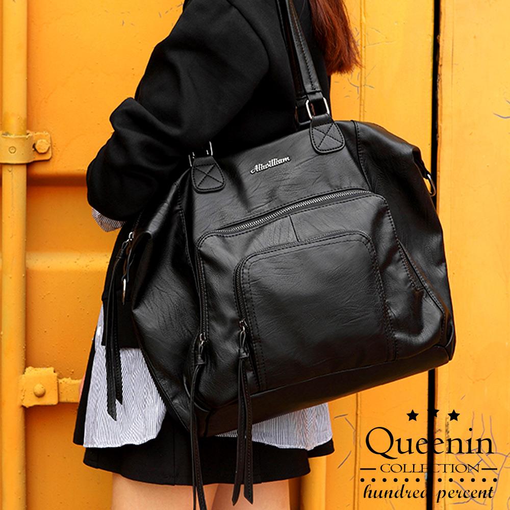 DF Queenin日韓 - 韓版氣質女王手感皮革大容量托特包