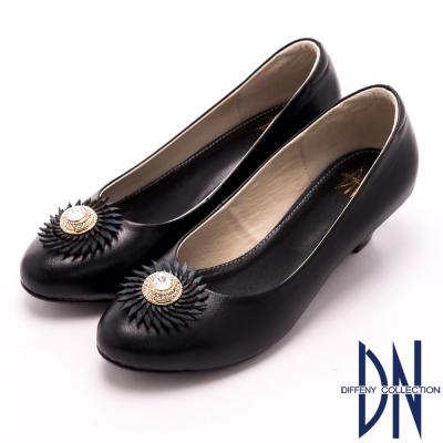 DN 經典MIT 典雅復古水鑽真皮低跟鞋 黑