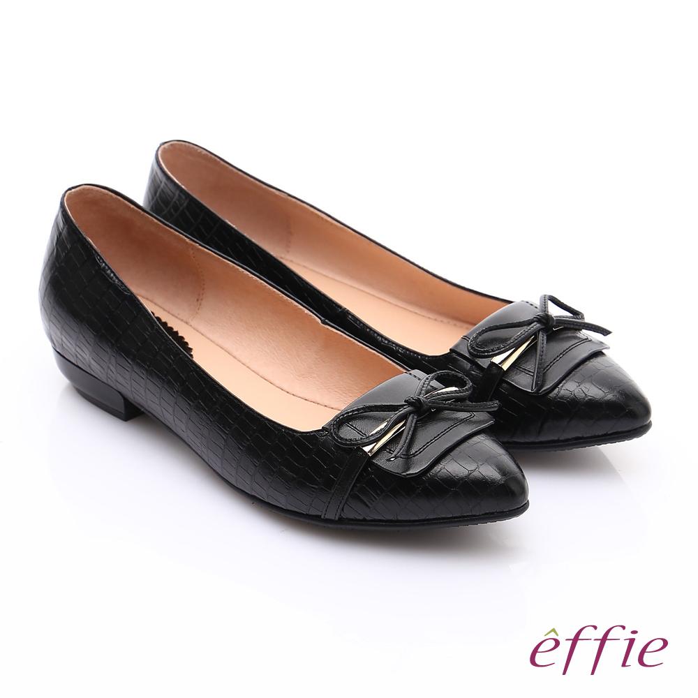 effie 輕透美型 全真皮壓紋金屬飾扣低跟鞋 黑色