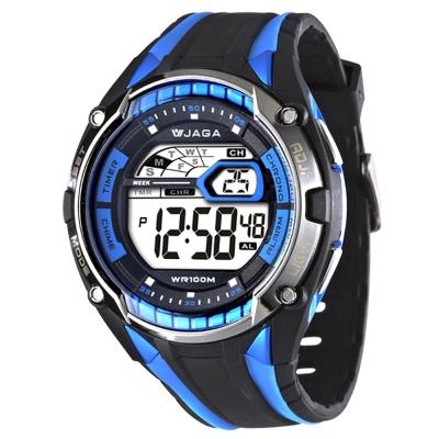JAGA 捷卡 超級戰將多功能電子錶-黑藍/50mm