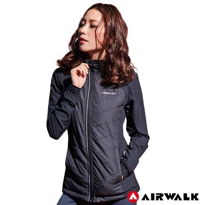 【AIRWALK】女款連帽拼接鋪棉外套-黑色