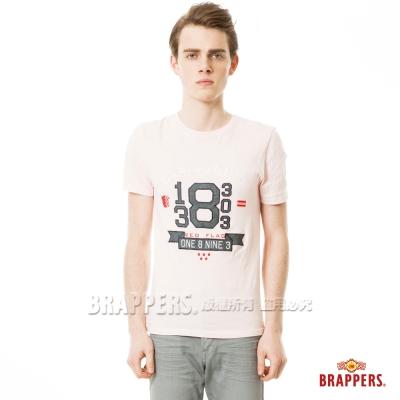 BRAPPERS 男款 牛津配布繡花短袖T恤-淺粉
