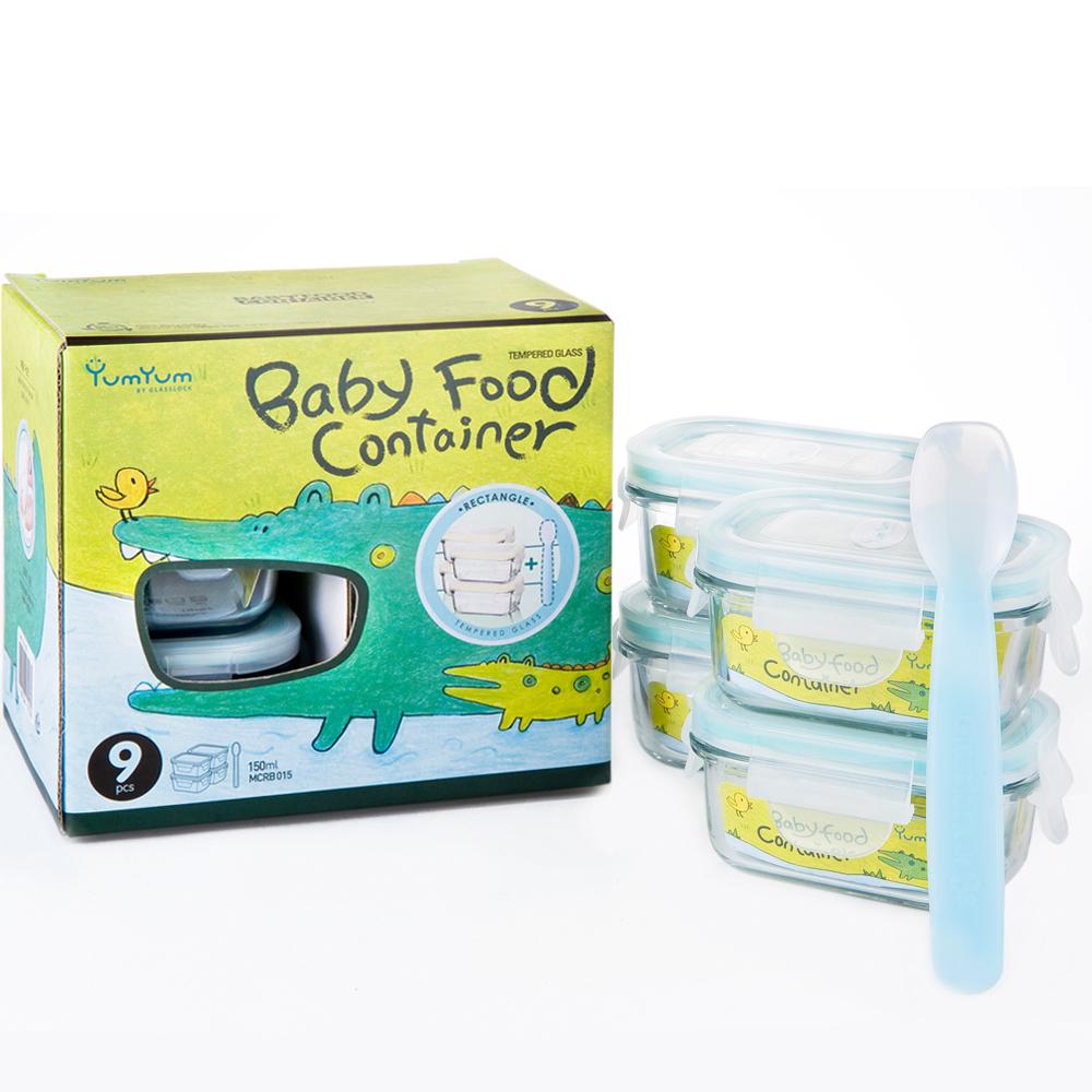 Glasslock YumYum長方形玻璃副食品保鮮盒4入組(附矽膠匙)
