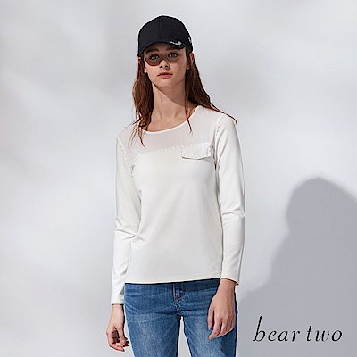 beartwo 圓領珍珠上衣(二色)