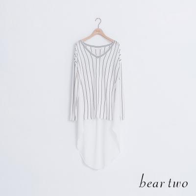 beartwo 微透針織拼接雪紡前短後長上衣(二色)