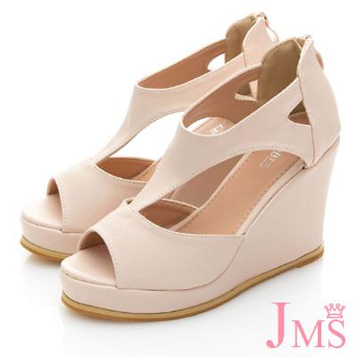 JMS-俏麗時尚T字魚口楔型涼鞋-杏色