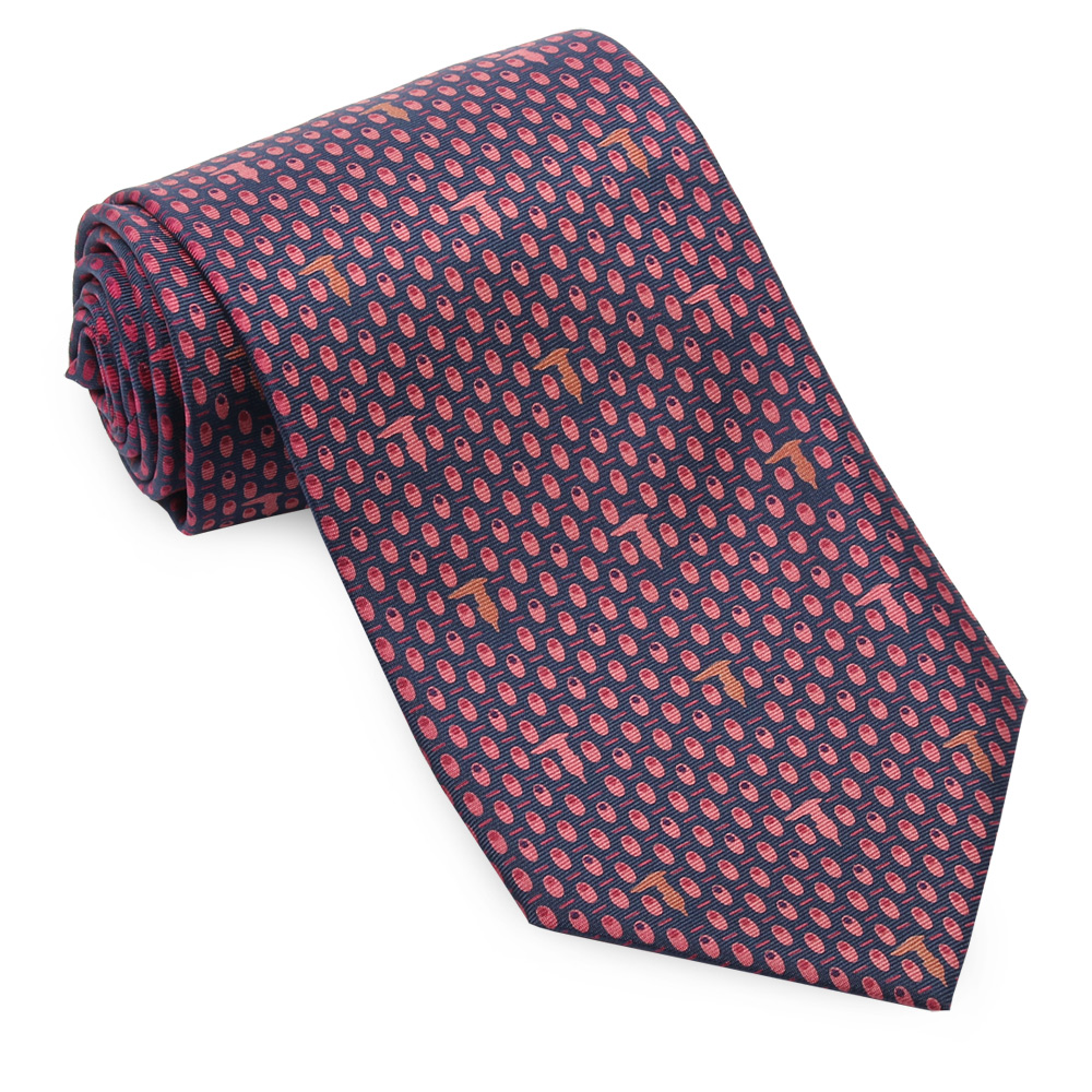 TRUSSARDI 小碎橢圓領帶-藍/紅