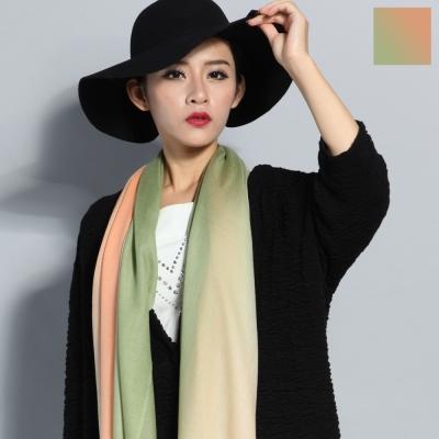Seoul Show 漸變撞色100%純羊毛80支圍巾披肩8色  橘綠漸變