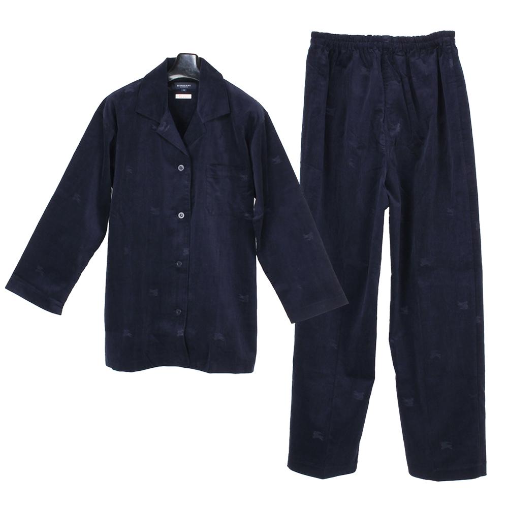BURBERRY戰馬LOGO純棉保暖休閒家居服套組-深藍色