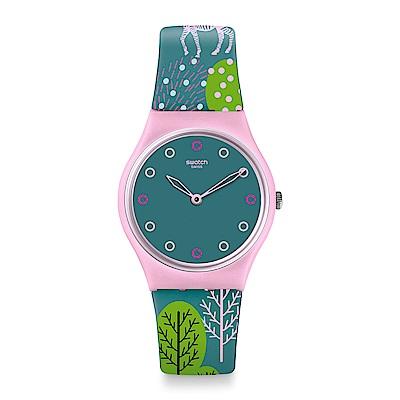 Swatch 英倫風情 HWANGE 彩色斑馬手錶