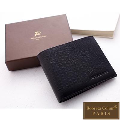 Roberta Colum - 牛皮鱷魚紋固定式卡片夾附零錢袋短夾-黑色
