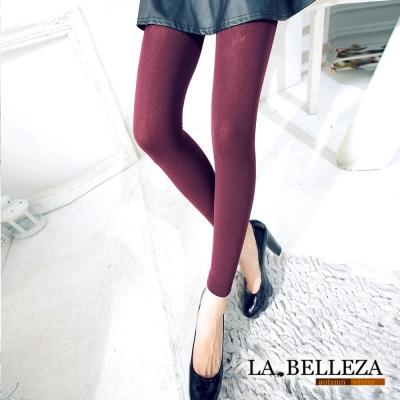 La Belleza暖冬必搭‧素面保暖內鋪絨毛平口內搭褲 (酒紅)