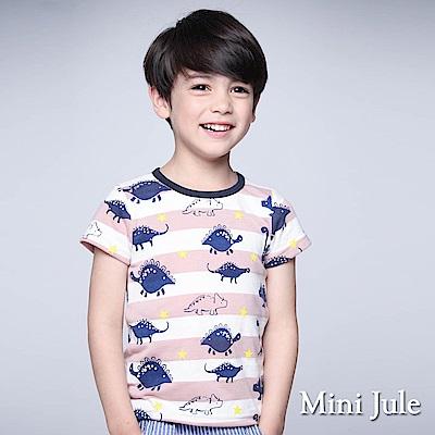 Mini Jule 童裝-上衣 藍恐龍寬條紋星星短袖T恤(粉)