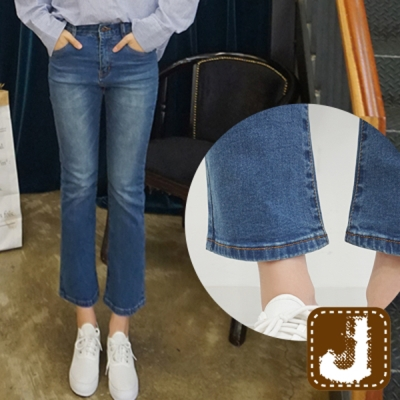 正韓 高腰九分窄管小喇叭褲-(水洗藍)100%Korea Jeans