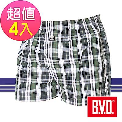 BVD 經典格紋平織四角褲(超值4件組)