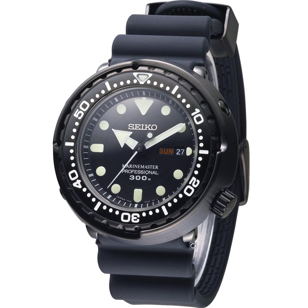 SEIKO PROSPEX  鮪魚罐頭專業運動潛水錶(SBBN035J)黑/48mm