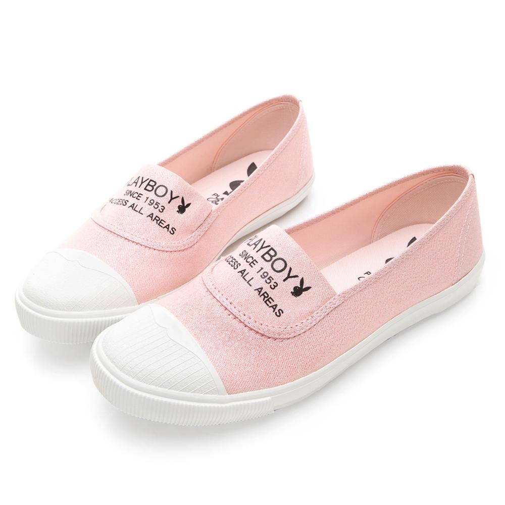 PLAYBOY繽紛彩糖 銀蔥帆布休閒便鞋-粉