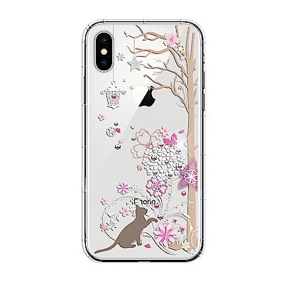 【SSTAR】iPhone X 彩繪水鑽空壓防摔殼-繡球花+小貓