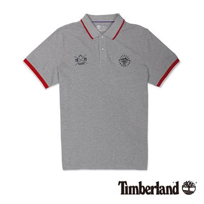 Timberland-男款淺灰色拼接刺繡短袖Polo衫