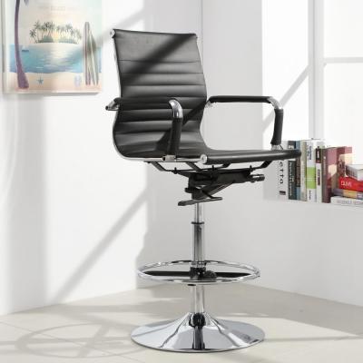 LOGIS邏爵-安菲米皮革低背高吧椅 梳妝椅 辦公椅 事務椅-黑色