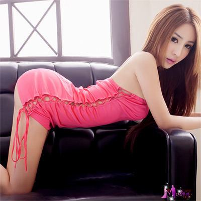 Moira 桃粉平口綁繩賽車女郎角色扮演服