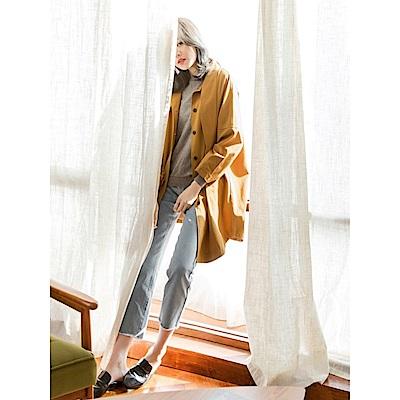領結造型長版落肩風衣寬鬆外套