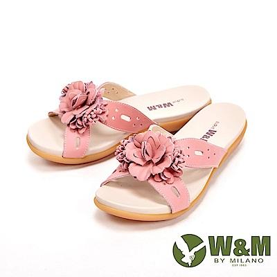 W&M 花朵朵彈力防滑底休閒 女拖鞋-粉
