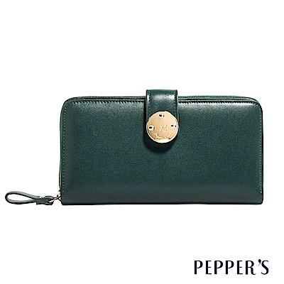 PEPPER`S  Farah 牛皮掀蓋長夾 - 橄欖綠