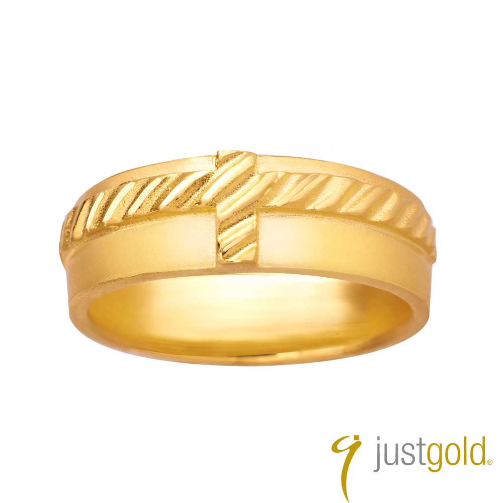 鎮金店Just Gold金生之約系列(純金)- 黃金對戒(男戒)