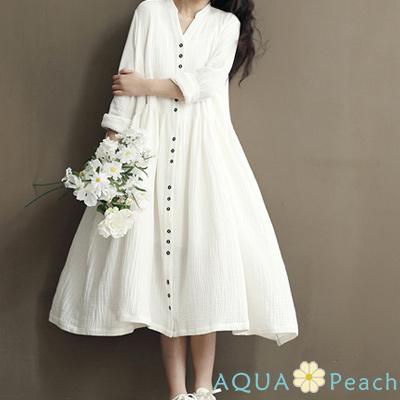 排釦棉麻長袖連身洋裝 (共二色)-AQUA Peach