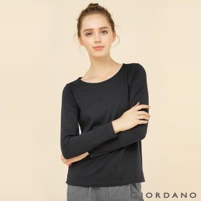 GIORDANO 女裝簡約素色棉質圓領長袖T恤 - 01 標誌黑色