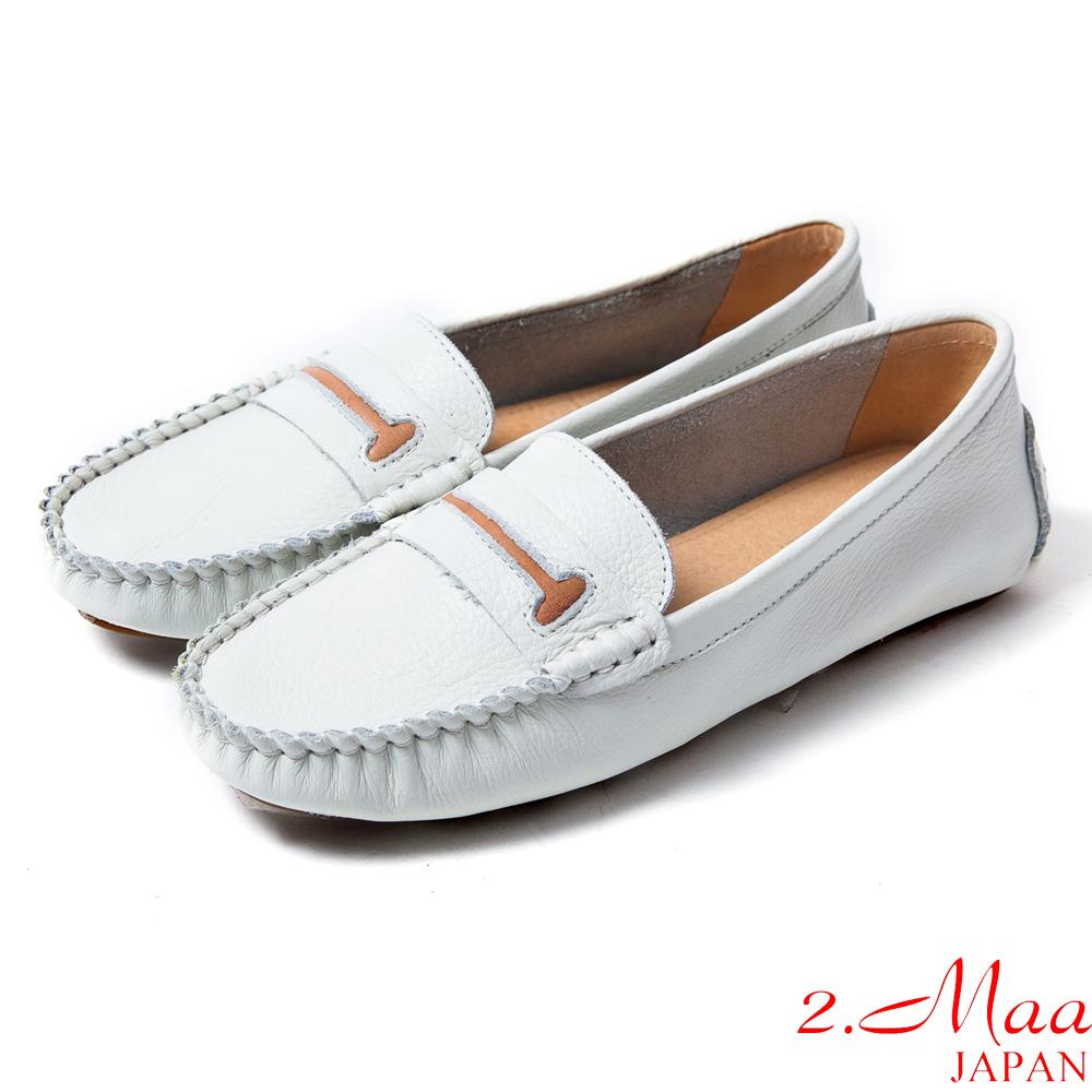 2.Maa真皮系列-完美舒適‧超柔軟牛皮狗骨頭造型莫卡辛鞋-閃耀白