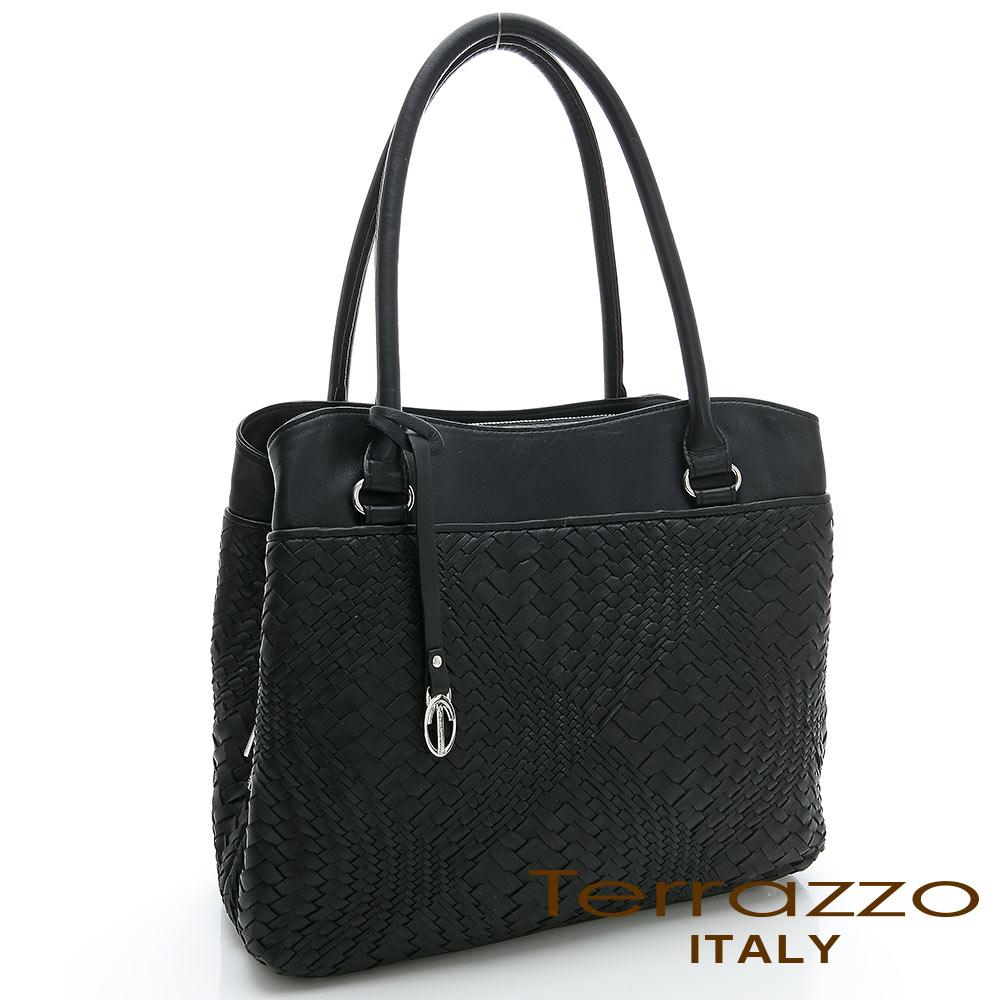 義大利Terrazzo - 全羊皮手工編織OL三隔層TOTE包-黑色23G4545B