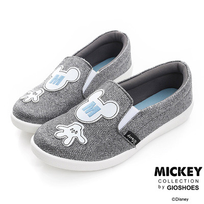 DISNEY-非常人物-米奇電繡M字亮蔥便鞋-灰-女