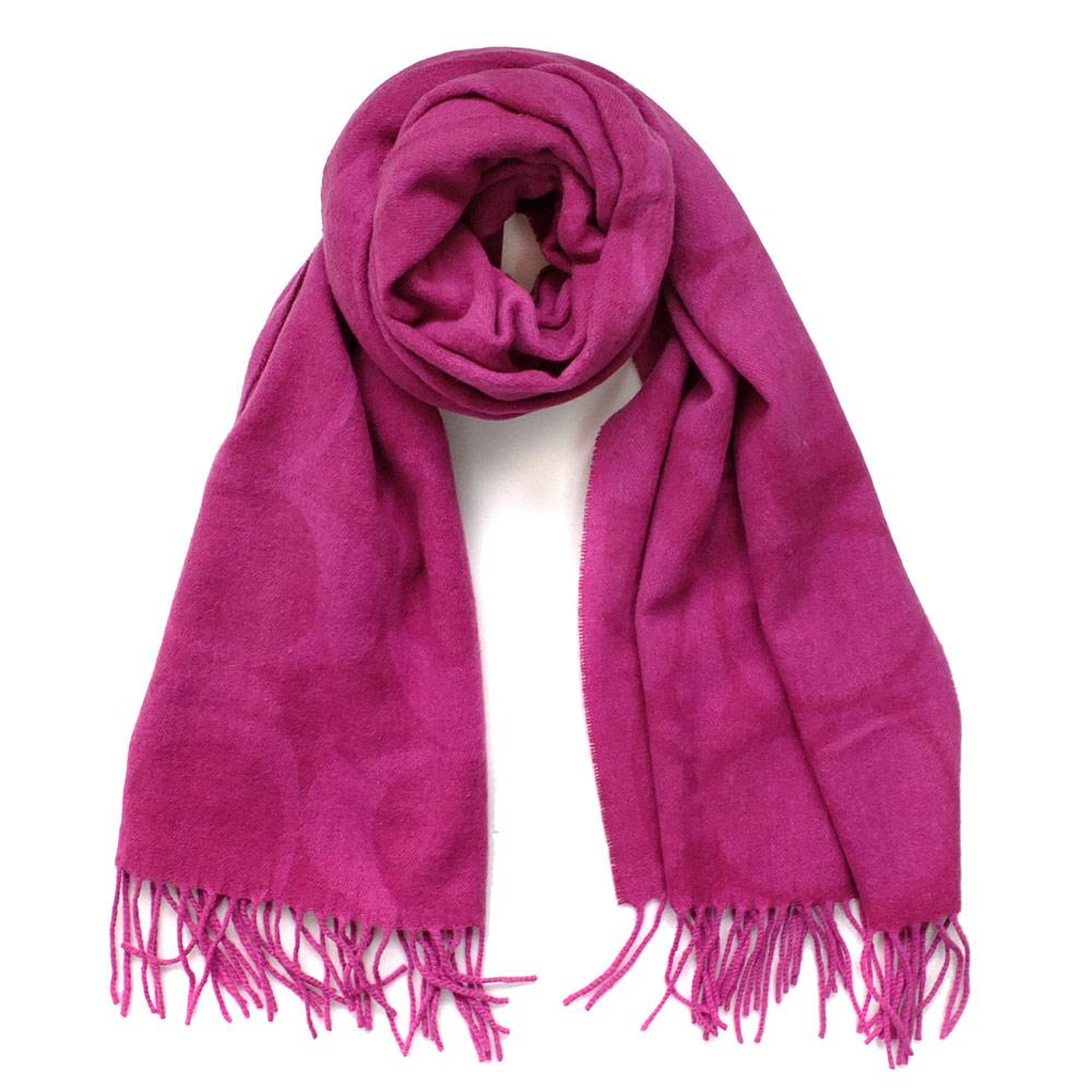 COACH桃紅大C Logo羊毛混兔毛絲絨保暖長圍巾(181x52)COACH