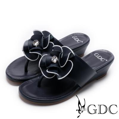 GDC-真皮精緻花卉鑲鑽夾腳楔型拖鞋-藍色