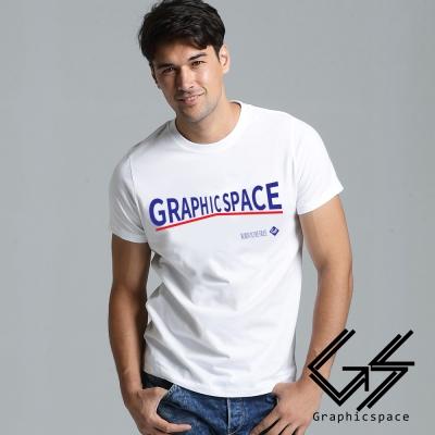 品牌藍色變形字樣磨毛水洗T恤 (白色)-GraphicSpace